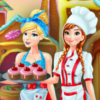 Anna And Cinderella At The Cupcakes Factory - Cinderella Cooking Games