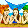 3 Mermaids Coloring -